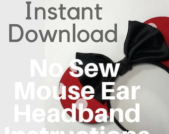 No Sew Mouse Ear Headband Pattern and Instructions   Instant Digital Download