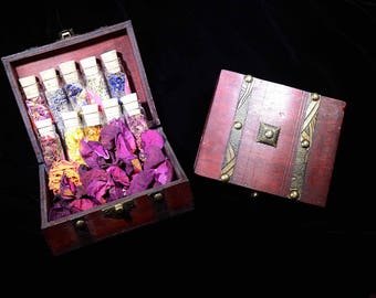 GYPSY FLORAL SPELLS Kit--10 {4} Dram Variety of Dried Floral Petals | Eco-Packaged in a Wooden Treasure Box | Organically Grown w/ Love