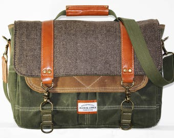 Waxed Canvas and Herringbone Messenger bag - laptop bag handmade by Alex M Lynch - 010074