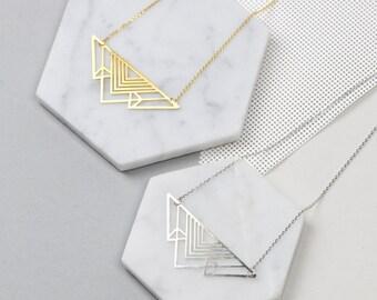 Geometric Deco Triangle Necklace
