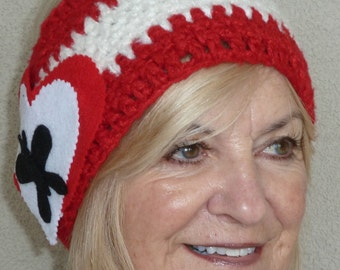 Red and white crochet headband, unique for Valentines Day with Love, boho with Andy Warhol in mind, unique and original gift for her
