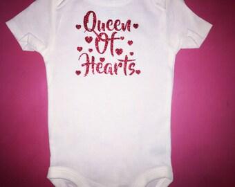 Baby girl Valentine's Day queen of hearts onesie