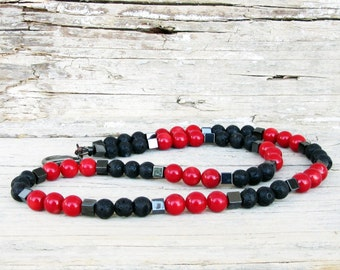 Black Lava Stone Red Coral Hematite Necklace for Men, Beaded Necklace, Mens Beaded Jewelry, Mens Beaded Necklace, Natural Stone Necklace