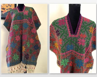 Vintage 60s Mexican Poncho w/ Fringe, Blanket Embroidered Poncho,