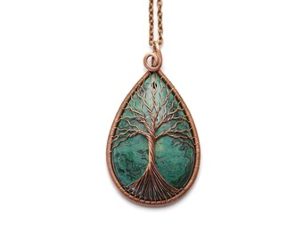 Baum des Lebens Anhänger Rosenquarz Halskette Rosenquarz