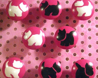 BLACK and WHiTE SCOTTIE DOGS on Hot Pink - Hand Painted Wooden Knobs - Set of 8 - Great for Little Girl's Room, Nursery