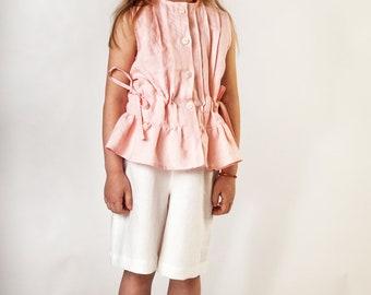 Linen Pink Girls Ruffles Sleeveless Top And White Shorts Set Size 5 - 6 Years