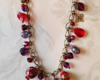 Necklace - Treasure in Red and Purple Sample