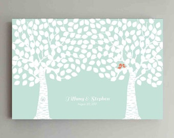 225 Guest Wedding Guest Book Wood Two Double Tree Wedding Guestbook Alternative Guestbook Poster Wedding Guestbook Poster - Coral Mint