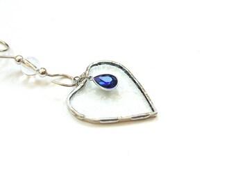 September birthstone suncatcher, blue sapphire heart, stained glass heart suncatcher ornament, September birthday gift, mini heart