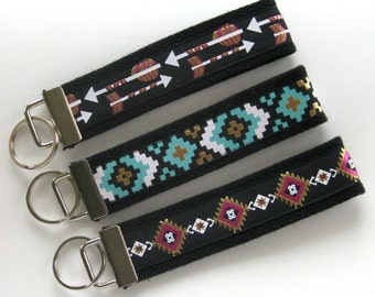 Aztec KEY FOB Wristlet- Wrist Keychain for Her- Tribal Key Lanyard for Women- Wristlet Key Chain- Gift for Her- Womens Gift Under 10