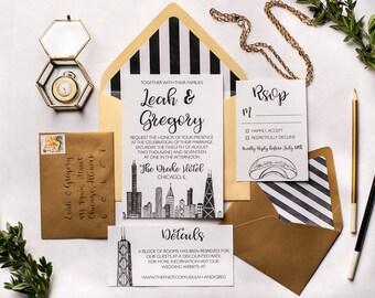 Chicago Skyline Wedding Invitations | Wedding Invitation Suite