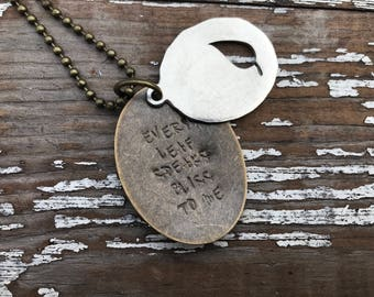 Autumn Leaf Necklace-Stamped Jewelry-Every Leaf Speaks Bliss to Me-Pewter