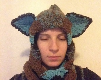 Brown and Turquoise Hooded Cowl With Ears