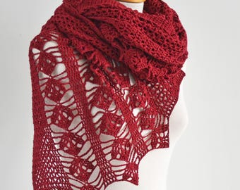 Crochet shawl, red, Q570