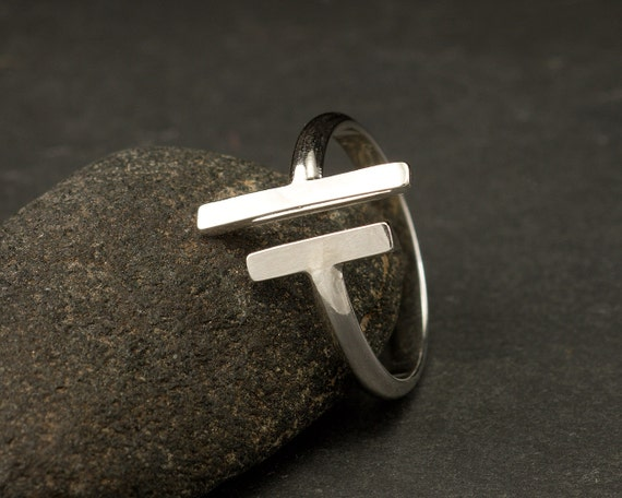 Parallel Bars - Sterling Silver Ring- Simple Silver Ring- Modern Silver Ring- Metalwork Ring- Silver wrap bar ring
