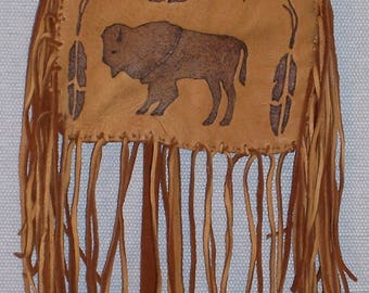 Native American Brown Deer Skin Leather Possible Bag W/ Burned Buffalo & Feathers