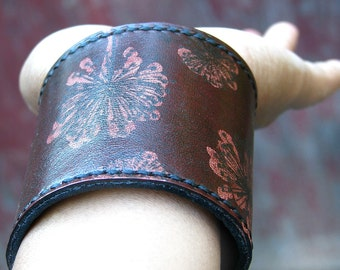 Women's Mahogany Leather Wrist Wallet Bracelet Cuff with Secret Pocket, Dandelion Print - Made To Order