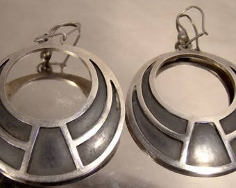 Mexican Patinated Sterling Silver Hoop Earrings 1970s