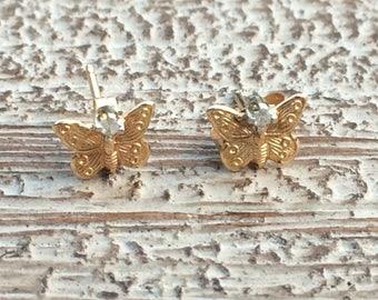 Gold Butterfly Stud Earrings Diamond 14K Tiny Studs Little Earrings
