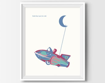 Kids Bedroom Decor, Nursery Wall Art, Kids Wall Art, Boys Bedroom Decor, Printable Wall Art, Rocket Racer Print, Playroom Decor, Boy Gifts