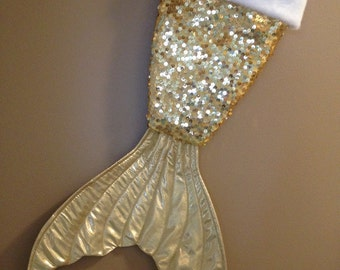 Mermaid Tail Christmas Stocking- Gold Sequin-Gold Shiny Tail