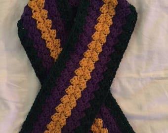 Hand Crochet Mardi Gras Carnival Wrap Scarf purple green gold