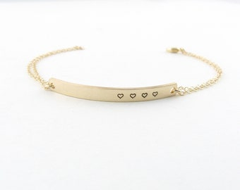Gold Bar Bracelet , Mothers Day Heart Bracelet ,A Mothers Love Bracelet , Grandma Gift, Rose Gold Bar Bracelet, Children Jewelry, Miscarriag