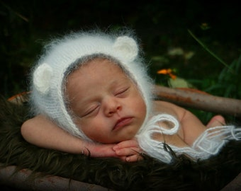 Newborn White Angora Bear  Bonnet Photography Prop, MADE TO ORDER
