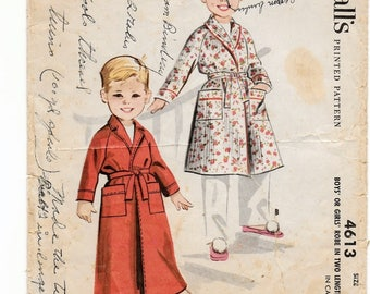 "A Floor- or Below Knee-Length, Long Sleeve, Waist-Tied Wrap Robe Pattern for Boys & Girls: Size 5, Breast/Chest 23-1/2"" • McCall's 4613"