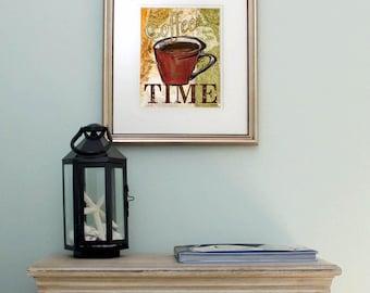 Coffee Art Print, Printable Digital Art, Kitchen Wall Decor, Instant Download