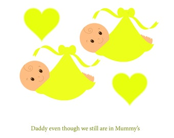 Daddy Bump Twin Nuetral Fathers Day Card