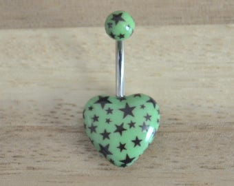 Green and Black Star Print Heart Shape Acrylic Belly Button Ring Navel Body Piercing Jewelry