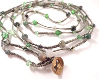 Green Forest Is A Beaded Micro Macrame Wrap That Can Be Worn As A Bracelet, Necklace, Or Anklet With An Abundance Of Green Hues.