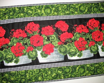 Geranium Table Runner, floral, table runner quilted, handmade, red. black, green, quilted table runner, fabric Timeless Treasures