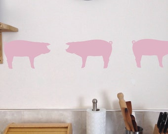 Pig Kitchen Wall Decals, Set of 10, Bacon Ham pork porky removable stickers