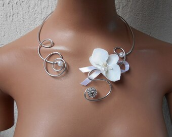 Flowers for bride - white and silver necklace with Orchid
