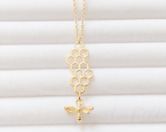 Gold Honeycomb Bee Necklace | Behive | Hexagon | Boho Necklace