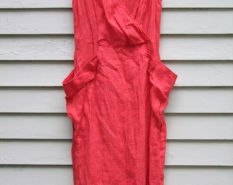 Vintage retro 1940s dress Tomatoe Red from 1980s