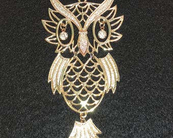 SOLD Vintage Gold Tone Segment Owl Dangle Rhinestone Eyes Pendant Long Chain Necklace, Vintage Jewelry, Signed Jewelry, Owl Jewelry