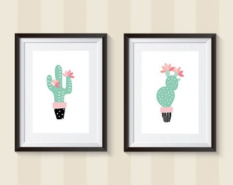 Mint Cactus Digital Prints | Set of 2 Printables | 8x10