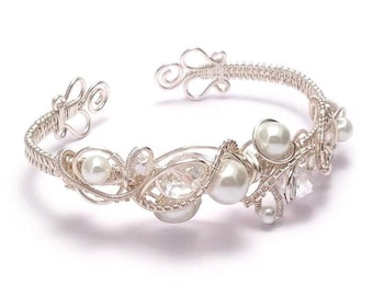 Bridal Cuff Bracelet   Crystal and Pearl Wire Weave Bridal Cuff Bracelet   Bridal Jewellery UK   Wedding Jewellery   Bridal Bracelet