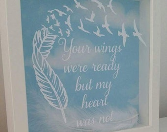 Memorial frame - Your wings were ready but my heart was not, Memorial gift, bereavement gift, ln loving memory