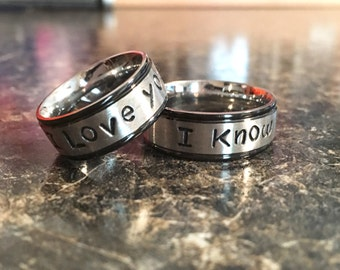 I love you i know Ring Set 8mm Stainless Steel with Black Trim Fashion Ring Hand Stamped