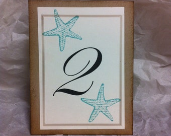 Starfish beach wedding table numbers,nautical table numbers,reception numbers,