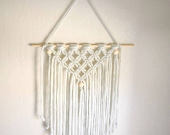 Bow Holder - Yarn Macrame Wall Hanging - Boho