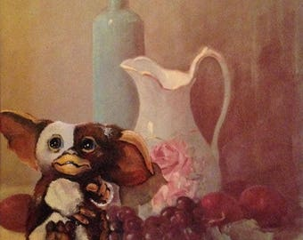 Gremlins Mogwai Gizmo Parody Painting, '11:59 PM' - Print Poster Canvas - Funny Gremlins Gift, Cute Gizmo Print Artwork Art -Enhanced Thrift