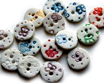Ceramic Button - Round Buttons - Handmade Button - Porcelain Buttons - Buttons for Crafts - Butterfly Button - childrens buttons for kids
