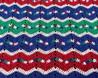 """Vintage Crochet Knit Afghan, Lap Blanket or Throw in Navy, Green, Maroon, Cream * 84"""" x  45"""""""