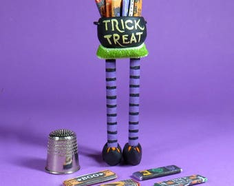 Collector Miniature 1:12 Scale ~ TRICK or TREAT BOWL on witch legs - filled with Candy Bars. ooak.